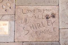 Handprints von Shirley Temple Lizenzfreie Stockfotografie