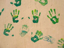 Handprints on the wall Stock Photo