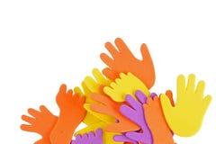 Handprints y huellas Foto de archivo libre de regalías