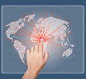 Handpunkt auf der Karte des Sozialen Netzes Stockfotografie
