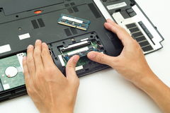 Handpushen RAM ändrar för bärbar datordator Arkivbild