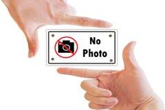 Handrahmen und kein Fotozeichen Stockbild