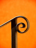 Handrail. Black handrail and housewall in the sunlight Stock Photography
