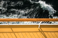 Handrail on a cruise ship. On the Baltic Sea stock image