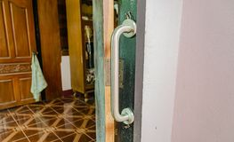 Handrail set up at the door stock photos