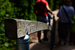 Handrail of stair outdoor. People walking of the stairs and holding the handrail Stock Photos
