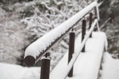 The handrail for the stairs in the snow. road after snowfall. winter way home royalty free stock photos