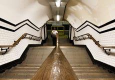 Handrail on underground tunnel. Handrail on a old fashioned underground commuter stock photos