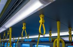 Handrail yellow of the austria train.  royalty free stock image