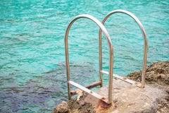 Handrails mounted near the sea. Royalty Free Stock Photography