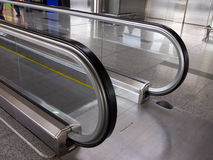 Handrails of a moving travolator in the hall.  royalty free stock photos
