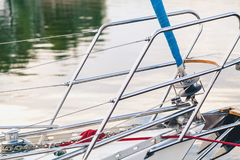 Steel handrails fence on a yacht. Handrails of stainless steel railings on the nose yachts Royalty Free Stock Photo