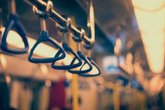 Handrails in a subway car Royalty Free Stock Photos