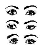 Handrawn概略被设置的传染媒介眼睛和眉头 皇族释放例证