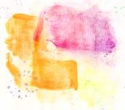 Handrawn akwareli menchii koloru żółtego tło Fotografia Royalty Free