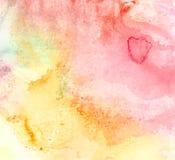 Handrawn akwareli menchii koloru żółtego tło Zdjęcia Stock