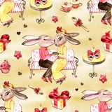 Handrawn bunny in love. Valentine`s Day. Rabbits and heart. Watercolor illustration on white background. Postcard. Set vector illustration
