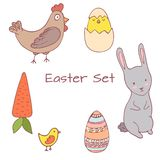 Handdrawn Easter clipart set stock illustration