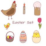 Handdrawn Easter clipart set royalty free illustration