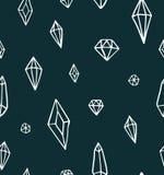 Handrawn crystal gems pattern vector dark green royalty free illustration