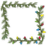 Handrawn Variety Pine Garland Corner Light Set Vector. Two hand drawn pine garland corner light sets, white twinkle light and vintage colored lights graphics Royalty Free Stock Images