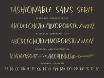 Handrawn vector alphabet. Modern gold letters for sans serif font. Marker painted abc with ligatures Stock Photo