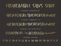 Handrawn vector alphabet. Modern gold letters for sans serif font. Stock Photo