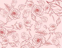 Handrawn Vintage Pastel Rose Seamless Pattern Background. Editable vector Royalty Free Stock Photography