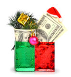 Handred dollars gift in pacage with christmas hat, bauble and pi Royalty Free Stock Photo