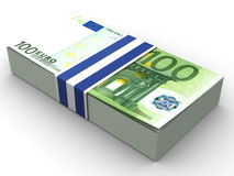 Handred euro. Very beautiful three-dimensional illustration, figure.Handred euro. 3d Royalty Free Stock Images