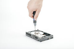 Handrepairmanen skruva av räkningen av motorn av de öppna 3na 5 tum HDD med en skruvmejsel Royaltyfria Bilder