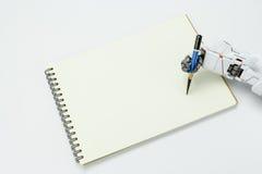 Handrobotergriff ein Bleistiftschreiben auf Hintergrund Stockfoto