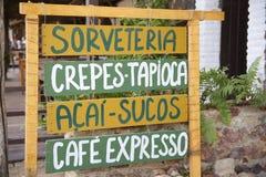 Handrwritten-Zeichen, das brasilianisches Snack-Lebensmittel annonciert Lizenzfreies Stockbild