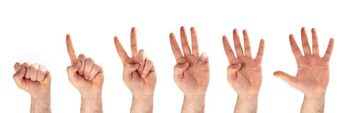 Hands - 1-2-3-4-5 Royalty Free Stock Photography