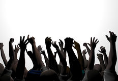Hands 1. An audience waves and applauds royalty free illustration
