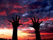 Hands. Put your hands in the air Royalty Free Stock Photo