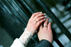 Hands. Warm loving each other in this cold season of autumn Royalty Free Stock Image