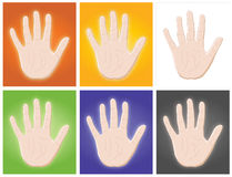Hands. 6 colorful hands in an image royalty free illustration