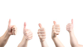 Hands. Thumbs up hands  with copy space isolated on white Royalty Free Stock Photography