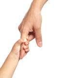 Hands. Little hands hold big finger Royalty Free Stock Photography