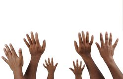 Hands. Up to show happiness Royalty Free Stock Photo
