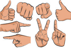 Hands. Collection of hand gestures over a white background - vector illustration Royalty Free Stock Photography