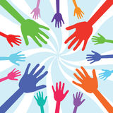 Hands. Colourful hands on white background Stock Images