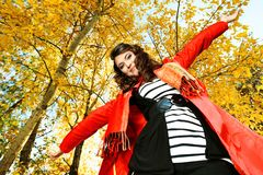 Hands. Young pretty woman at the autumn park Royalty Free Stock Images