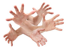 Hands Hand Reaching. A montage of hands reaching out isolated on white Stock Photography