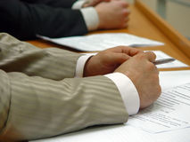 Hands. Of business men, present on the corporate meeting Stock Photography