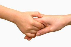 Hands. Hand the child and an adult hold each other Royalty Free Stock Images