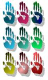 Set of colorful Hands isolated. Nine palms of hand created with fanciful decorations Royalty Free Illustration