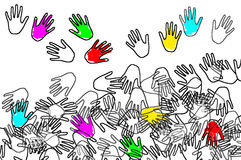 Hands. Of different colors drawn on a white background Stock Photos