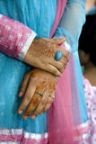 Hands. Of the Indian girl decorated with henna royalty free stock photos
